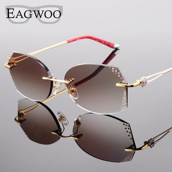 Alloy Eyeglasses Women Rimless Prescription Reading Myopia Sunglasses Glasses with Color Tinted Prescription lenses 528061