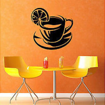 Lemon Tea Cup Kitchen Decoration Sticker Decal Wall art decor Vinyl tr1834