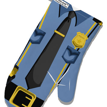 Police Blue-Gold AOP White Printed Fabric Oven Mitt All Over Print