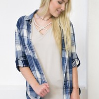 Kickin' It Back Plaid Top