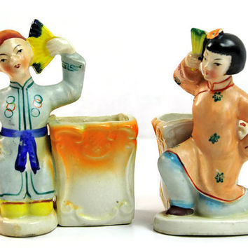 Vintage Occupied Japan Figural Planters Pair Fan Dancing Figurines  Boy Girl 1940s Asian Pottery Patio Decor Windowsill Garden