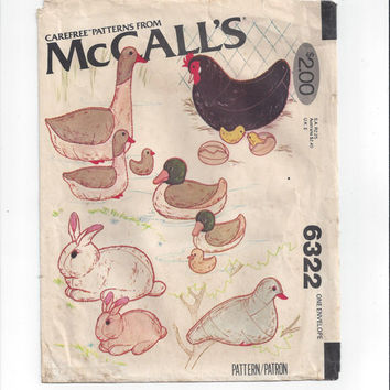 McCall's 6322 Pattern for Stuffed Animals, Most UNCUT, From 1978, Pigeon, Rabbit, Goose, Duck, Hen, Chick, Home Sewing, Vintage Pattern