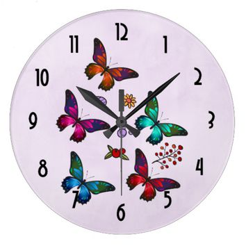Elegant Colorful Butterflies Pattern on Pink Large Clock