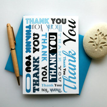 Blue, Thank You Card, Thank You, Nice Thank You Card, Thank You Note, Simple Thank You Card, Thank You Greeting Card, Thanks, Blue Thank You