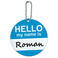 Roman Hello My Name Is Round ID Card Luggage Tag