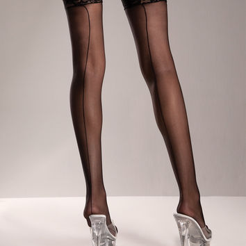 Be Wicked Hosiery Thigh High Backseam Stockings with Lace Trim