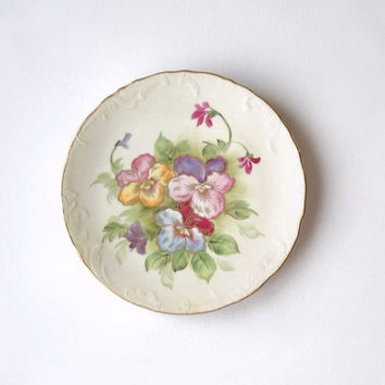 ON SALE - Lefton Plate, Vintage Hand Painted Flowers, Shabby Cottage Kitchen Wall Hanging