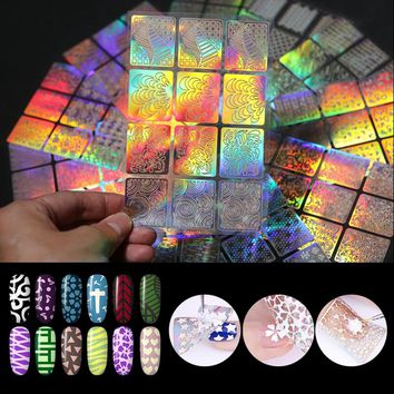 3Pcs Holo Nail Vinyls Butterfly Heart Star Moon Fish Scale Number Hollow Stencil Stickers Hologram Nail Decoration Water Sticker