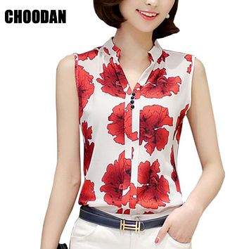 Summer Korean Elegant Sleeveless Flower/Butterfly/Plaid Print Shirt