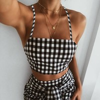 2018 Sexy Backless Sling Plaid Vest