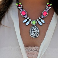 Pink & Green teardrop statement necklace