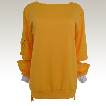 Yellow Cut-Out Sleeve Dip Hem Sweater