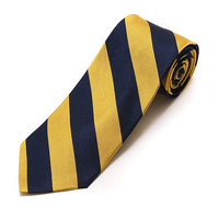 Silk Woven College Tie Gold and Navy Striped