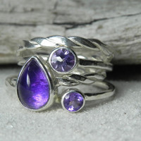 Stacking Rings  Amethyst Stacker Set  Amethyst by FantaSeaJewelry