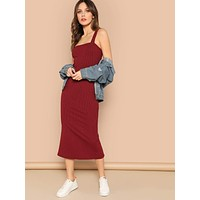 SHEIN Thick Strap Split Back Fitted Jersey Dress