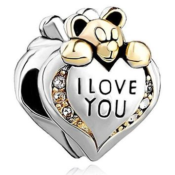 Gift Heart Lovers Bear 925 Sterling Silver Charm Fit European Charm Bead I Love You