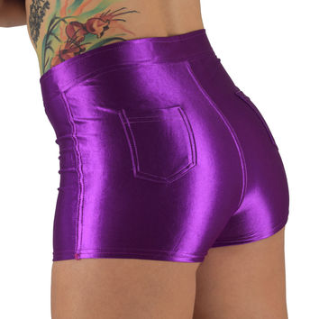 High Waisted Purple Shorts for Raves