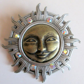 Vintage rare signed JJ Jonette Jewelry Pin Brooch,  unique gift woman grandma under 20, NOS Artifacts, Sun face figurative pin jeweled