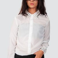 White Long Sleeve Button Up Top with Spike Embellishment