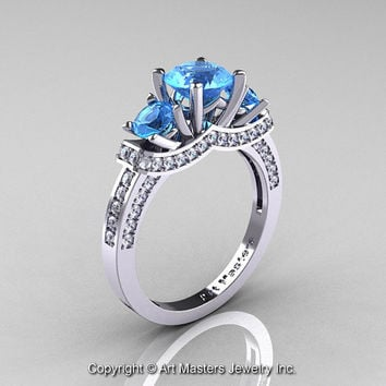 Exclusive French 14K White Gold Three Stone Blue Topaz Diamond Engagement Ring Wedding Ring R182-14KWGDBT