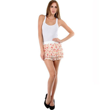 Floral Chiffon Tier Ruffle Mini Skirt