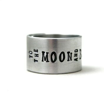 WIDE Silver hand stamped wrap ring - To The Moon and Back