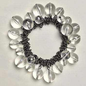 Vintage Beaded MOD Stretch Bracelet / Clear Colorless Round Plastic Lucite Beads / Silver Tone Chain Links / Chunky Cha Cha Stretch Bracelet