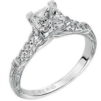 "Artcarved ""Charmaine"" Engraved Band Diamond Engagement Ring"