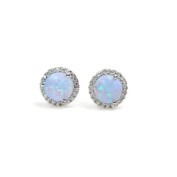 Sterling Silver Light Blue Created Opal and CZ Halo Stud Earrings