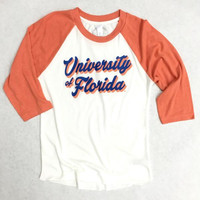 University of Florida Retro Script Vintage Baseball Tee