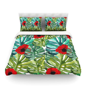 """Li Zamperini """"Tropical Vibes"""" Green Olive Watercolor Featherweight Duvet Cover"""
