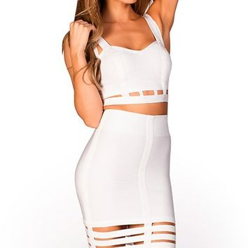 Naoki White Caged Skirt and Crop Top Two Piece Bandage Dress