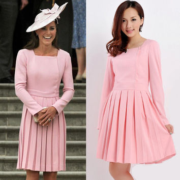 Emilia Wickstead Dress/ Kate Middleton Inspired/ Pink/ Pleated/ Square neckline