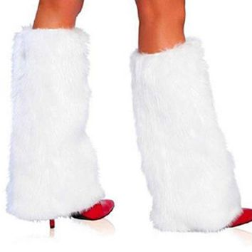 Sexy Faux Fur Leg Warmers Winter Fluffy Lady Boot Cover Christmas Style Santa Claus Costume Accessories 3 Colors Black White Red