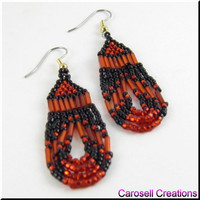 Southwestern Beadwork Seed Bead Earrings Loops in Red and Black