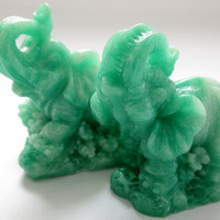 Circus Elephant Pair of Jade Green Elephants by Trinkets4Muses