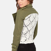 Black Swan Calgary Knit-Back Army Green Jacket
