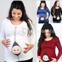 Spring and autumn baby printed pattern pregnant women t shirt Europe and the United States large size maternity tshirts