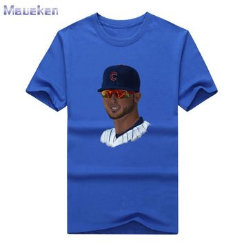 New 2017 Kris Bryant Chicago with glasses cool printed T-shirt 100% Cotton for CUBS fans T shirt 0830-5