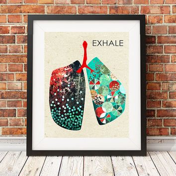 art print, giclee print, illustration, 11x14, graphic design, lungs, anatomy art, graphic poster, inspirational quote, wall decor, turquoise