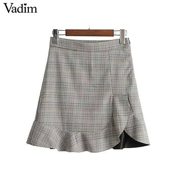 Vadim women elegant checkered ruffles mini skirt faldas mujer side zipper Preppy style ladies casual wear chic skirts BSQ647