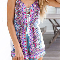 Totem Print Lace-Up Romper