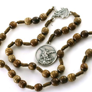 Brown Carved Wood St Saint Michael Archangel Rosary Beads Chaplet 6M Strong Cord