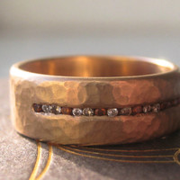 Fairtrade Wedding Band with 16 Diamonds in Using 18k Rose Gold with a Hand Hammered Finish.