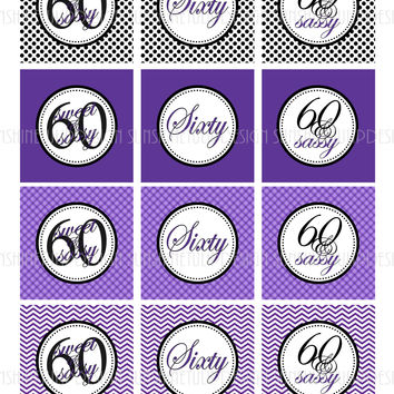 Printable 60th Birthday Cupcake Toppers, Sticker Labels & Party Favor Tags