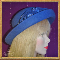 Blue Felt, Reconstructed Wool Vintage Bowler/Derby Style Woman's Hat, One of a Kind