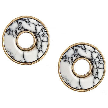 Faux Stone Cutout Ring Stud Earrings