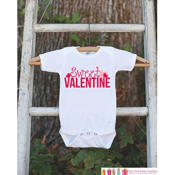Girls Valentines Day Outfit - Sweet Valentine Onepiece with Pink Hearts - Novelty Valentine Shirt for Baby Girl - Kids Valentines Day Outfit