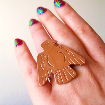 Thunderbird. Vintage Copper Ring by LarkinAndLarkin on Etsy