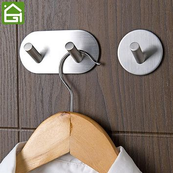 Self Adhesive Stainless Steel Clothes Hanger Rustproof Bathroom Kitchen Wall Towel Hook Key Coat Hat Organzier Holder